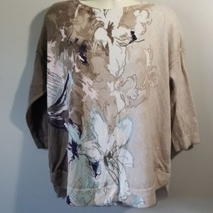 Chico's 3/4 Sleeve Floral Abstract Top